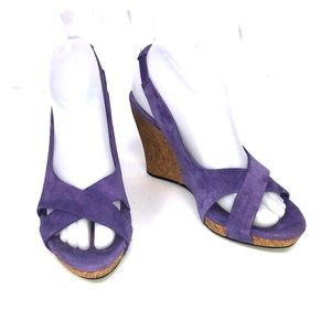 "Purple UGG ""Hazel"" Slingback Open Toe Wedges 7"